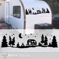 Camp Orman Manzara Karavan Sticker, Kamp Sticker