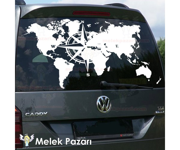 Dünya Pusula Off Road Karavan Sticker