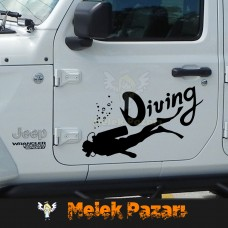 Dalış - Dalgıç, Diving Araba Sticker