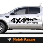 Alevli 4X4 Off-Road Araba Sticker. Sağ ve Sol set