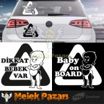Baby On Board - Dikkat Bebek Var Araba Sticker