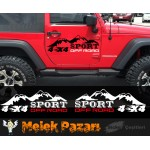 4x4 Off Road Sport Araba Sticker. Sağ ve Sol Set