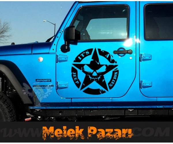 2 Adet it's a jeep nation Askeri Yıldız, Off road Sticker