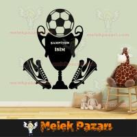 İsim Yazılabilir, Futbol Şampiyonluk Kupası Duvar Sticker