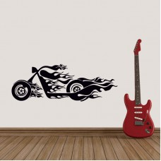Alevli Chopper Motor Duvar Sticker