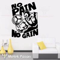 No Pain No Gain  Fitness, Spor Salonu Duvar Sticker