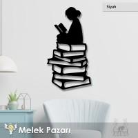 Kitap Okuyan Kız Dekoratif Ahşap Tablo