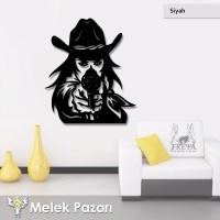 Silahşör Kadın Kovboy Dekoratif Ahşap Tablo