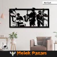 Jazz Müzik Grubu Dekoratif Ahşap Tablo