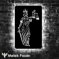 Themis Heykeli Led Işıklı Dekoratif Ahşap Tablo